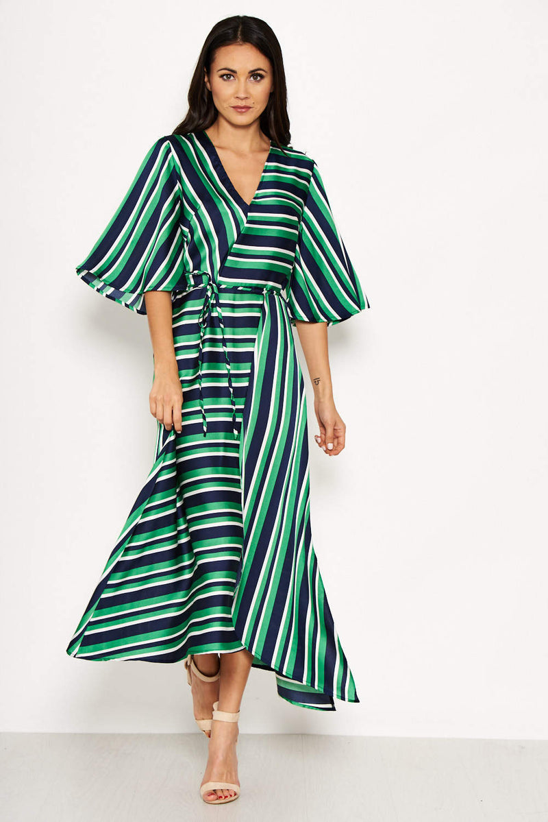 Green Striped Wrap Over Dress