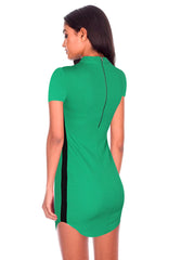 Green Mini Dress With Black Panel Detailing