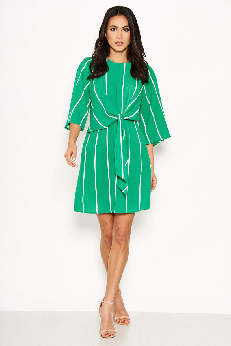Green Striped Knot Dress