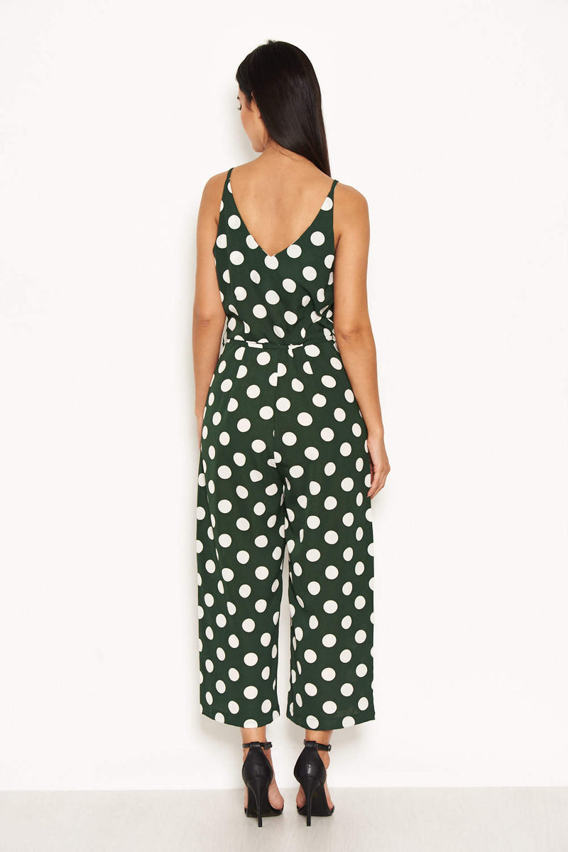 Green Polka Dot Tie Waist Jumpsuit