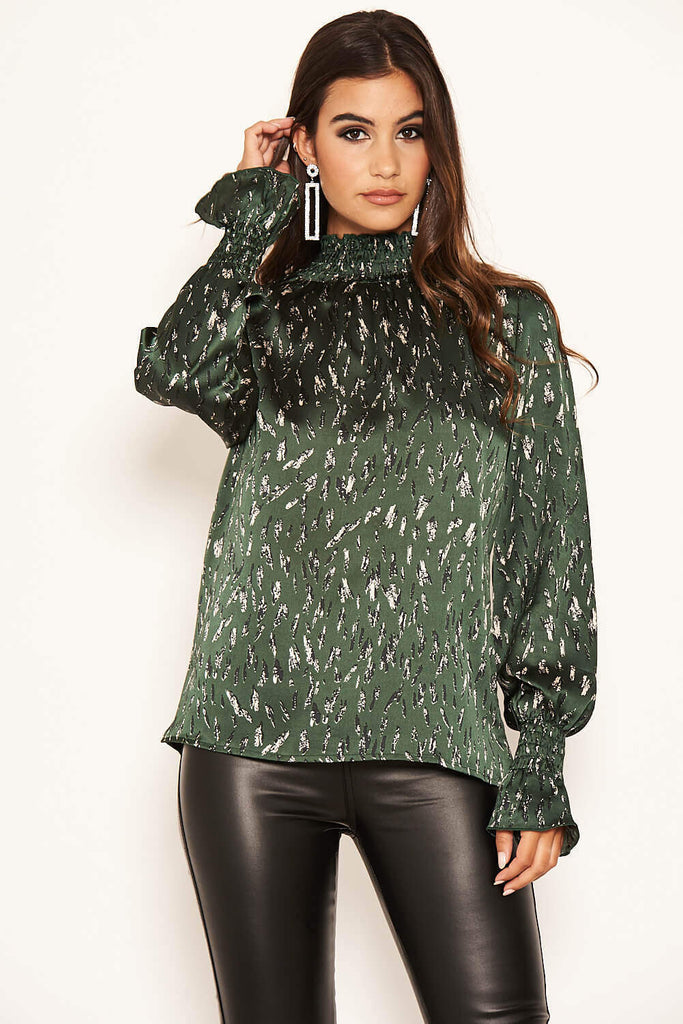 Green Printed High Neck Top