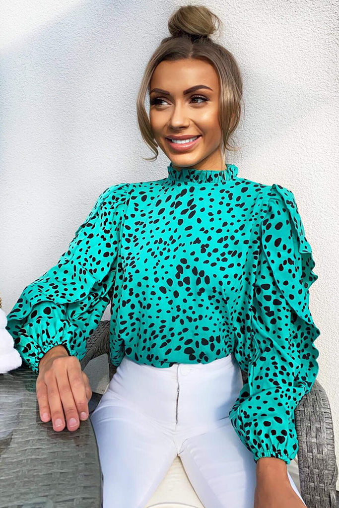 Green Spotty Frill Sleeve Top