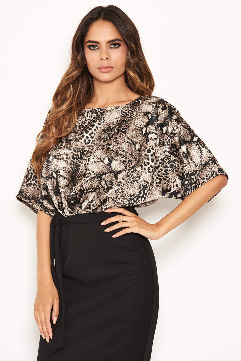 Grey 2 in 1 Animal Print Midi Dress