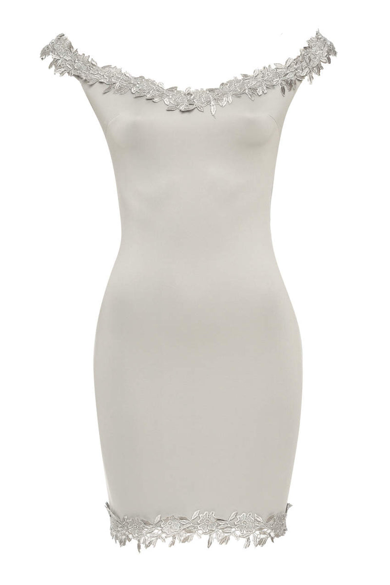 Grey Bardot Mini With Lace Detail