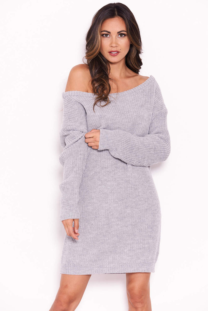 Grey Boatneck Longline Jumper