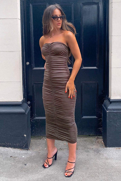Grey Strapless Ruched Bodycon Midi Dress
