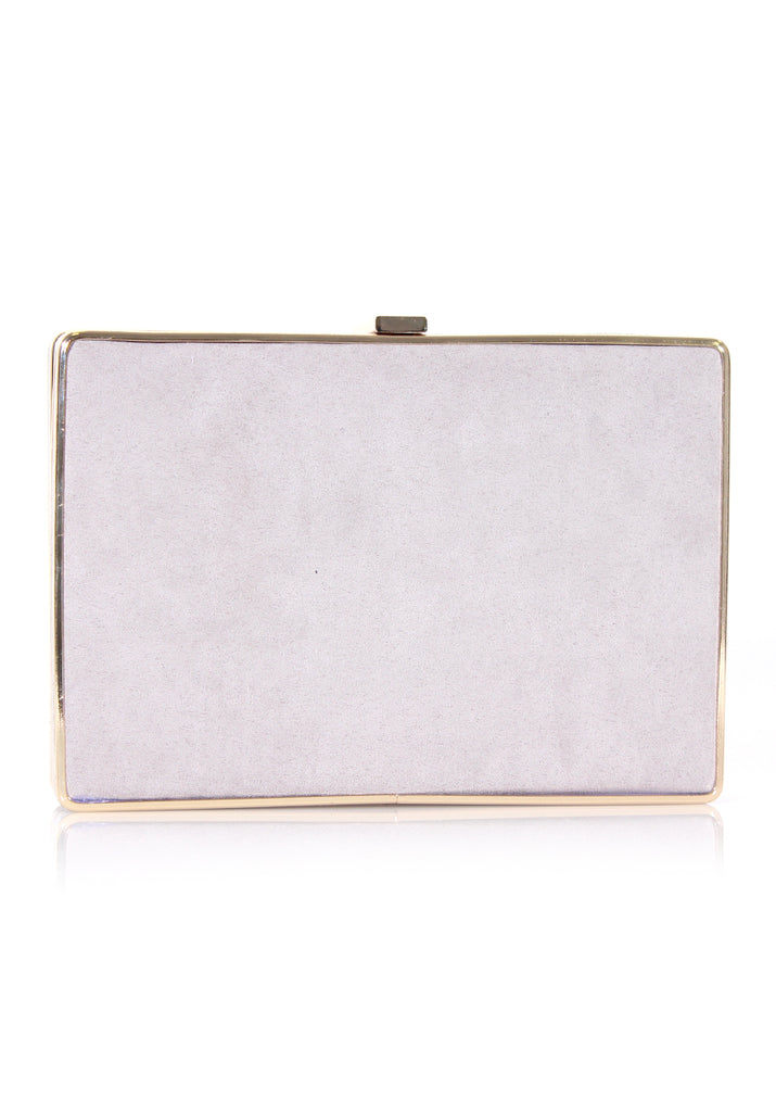 Grey Box Suede Clutch with Gold Detail