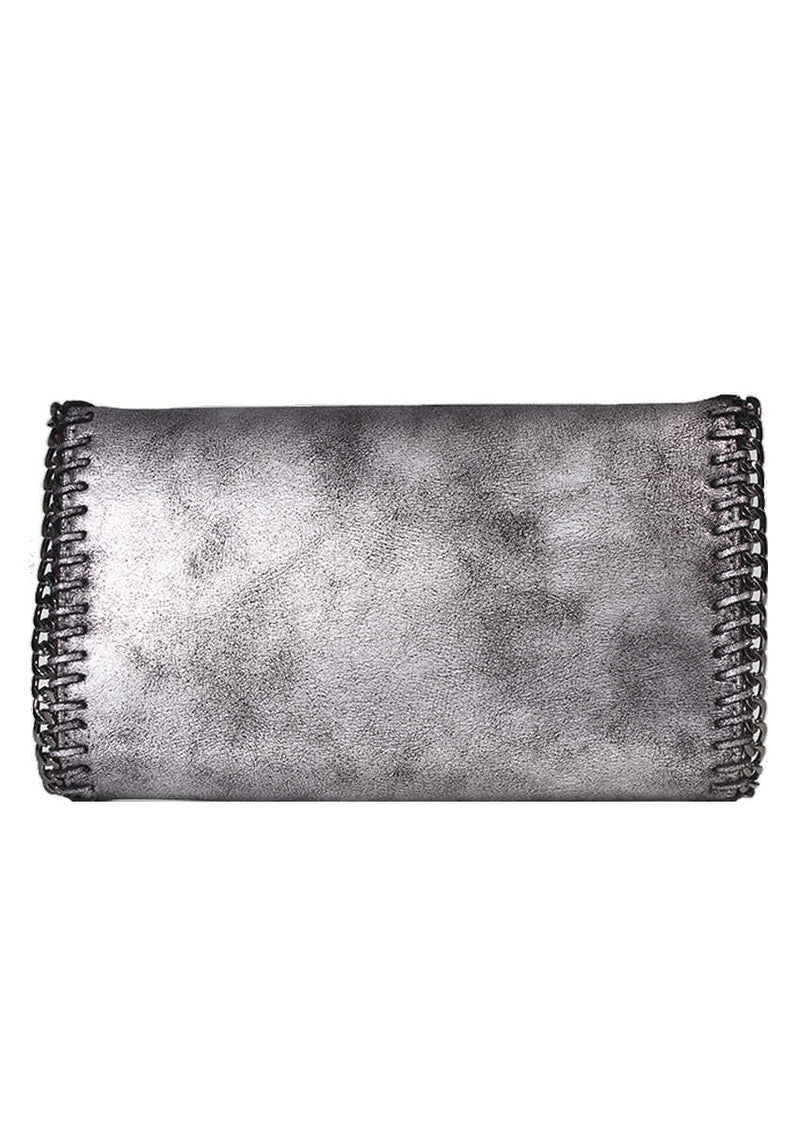 Grey Chain Detail Clutch Bag