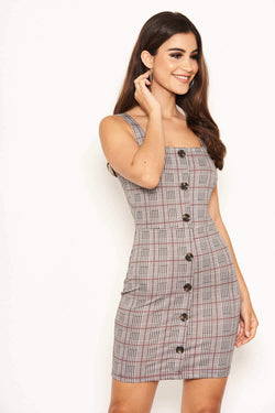 Grey Check Button Front Detail Dress