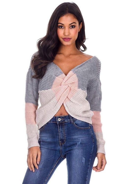 Grey Colour Block Reversible Jumper
