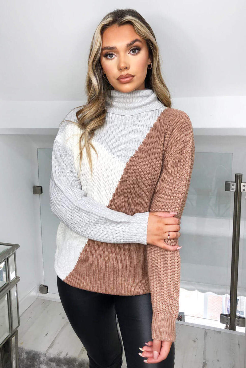 Grey Colour Block Roll Neck Knitted Jumper