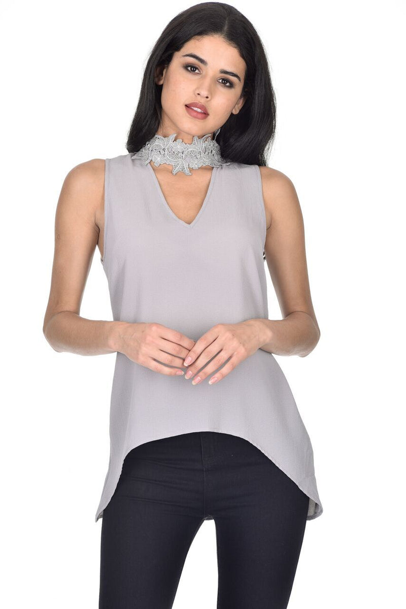 Grey Crochet Choker Swing Top