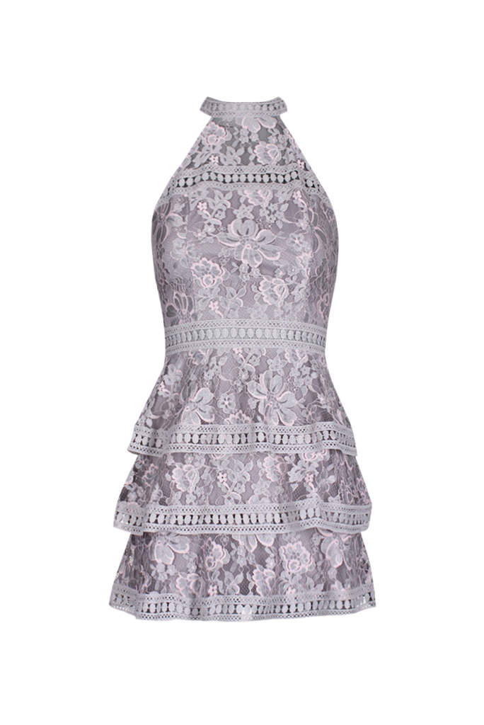 Grey Crochet Layered High Neck Dress