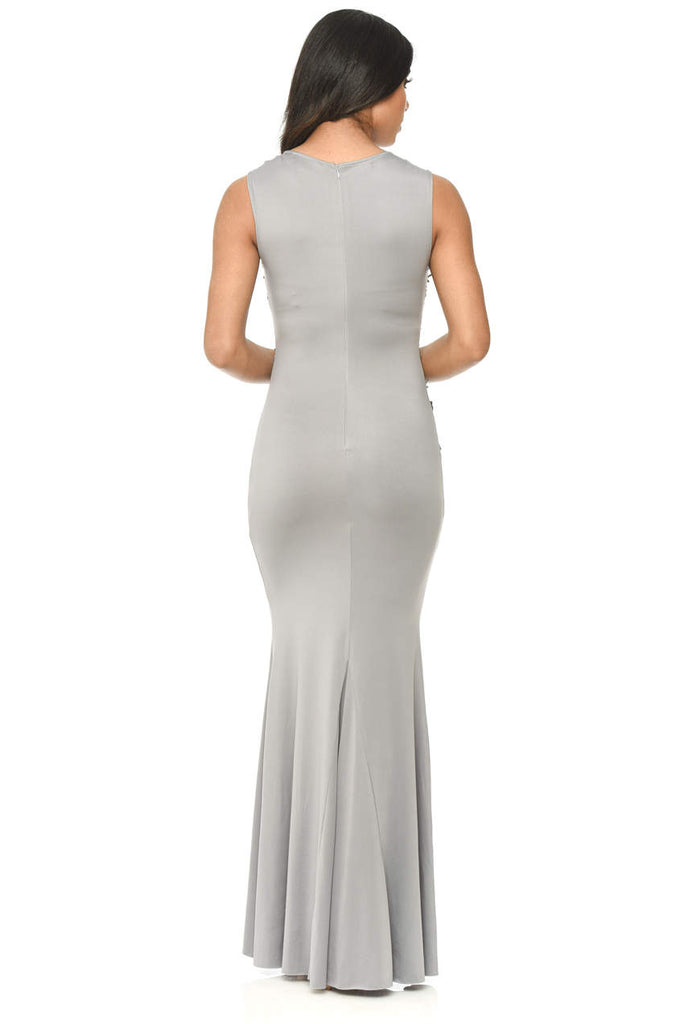 Grey Floor Length Fitted Dress With Lace Detail
