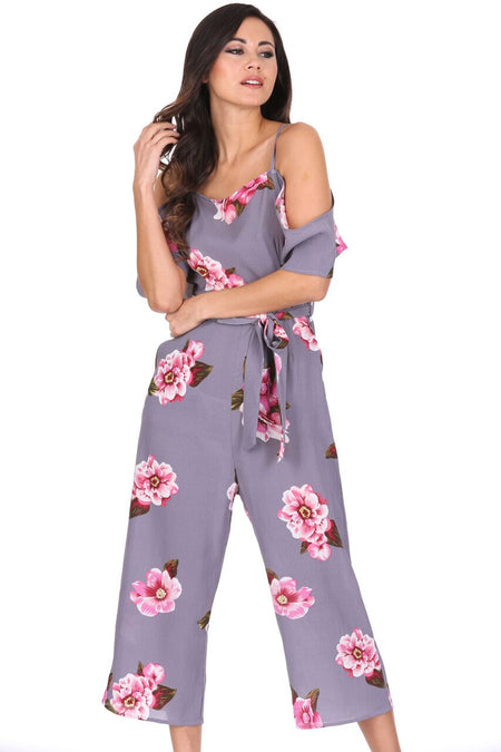 Grey Contrast Floral High Neck Playsuit