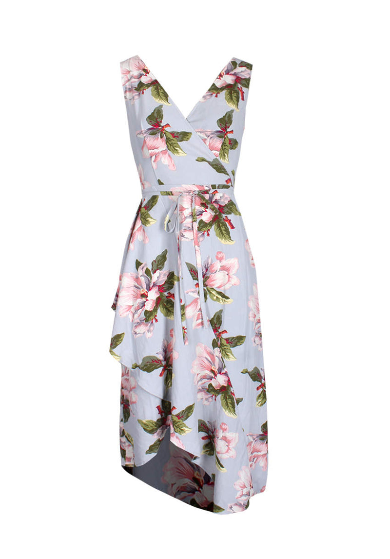 Grey Floral Print Sleeveless Wrap Over Dress