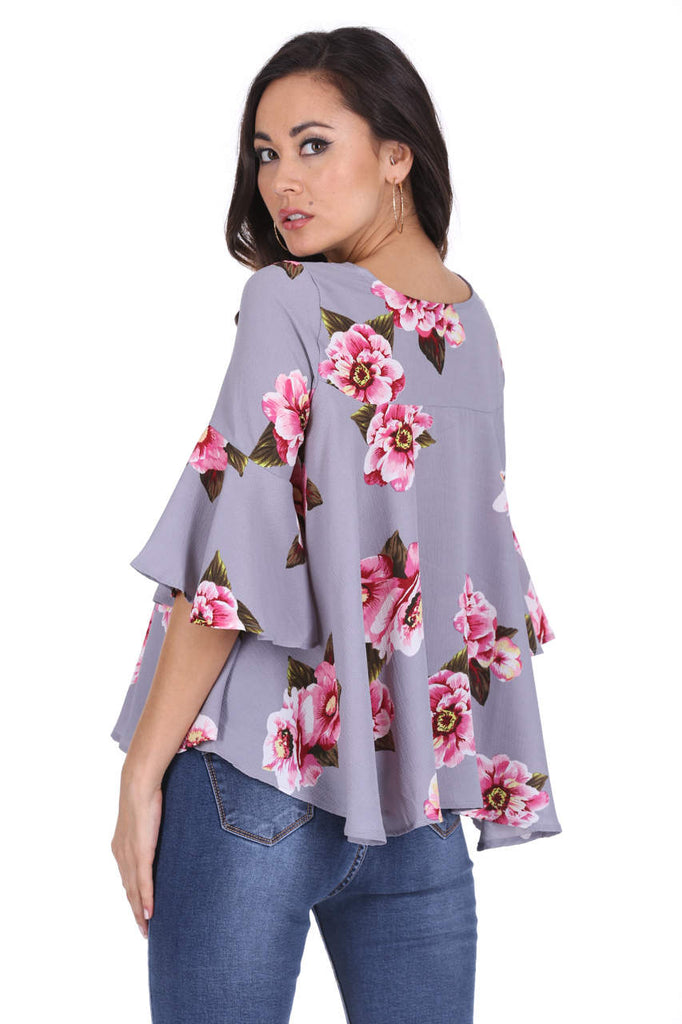 Grey Floral Frilled Sleeved Top