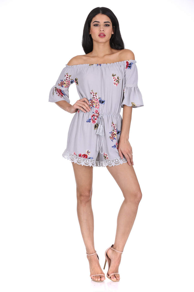 Grey Floral Print Off The Shoulder Playsuit