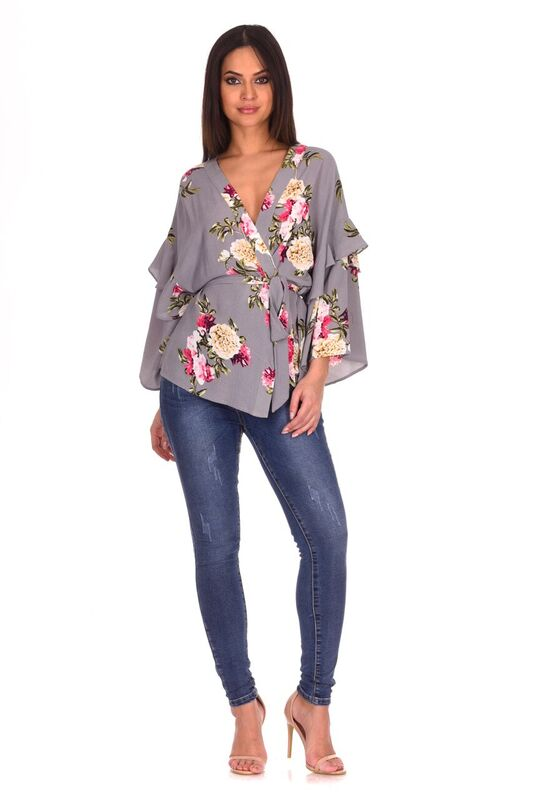 Grey Floral Print Wrap Top