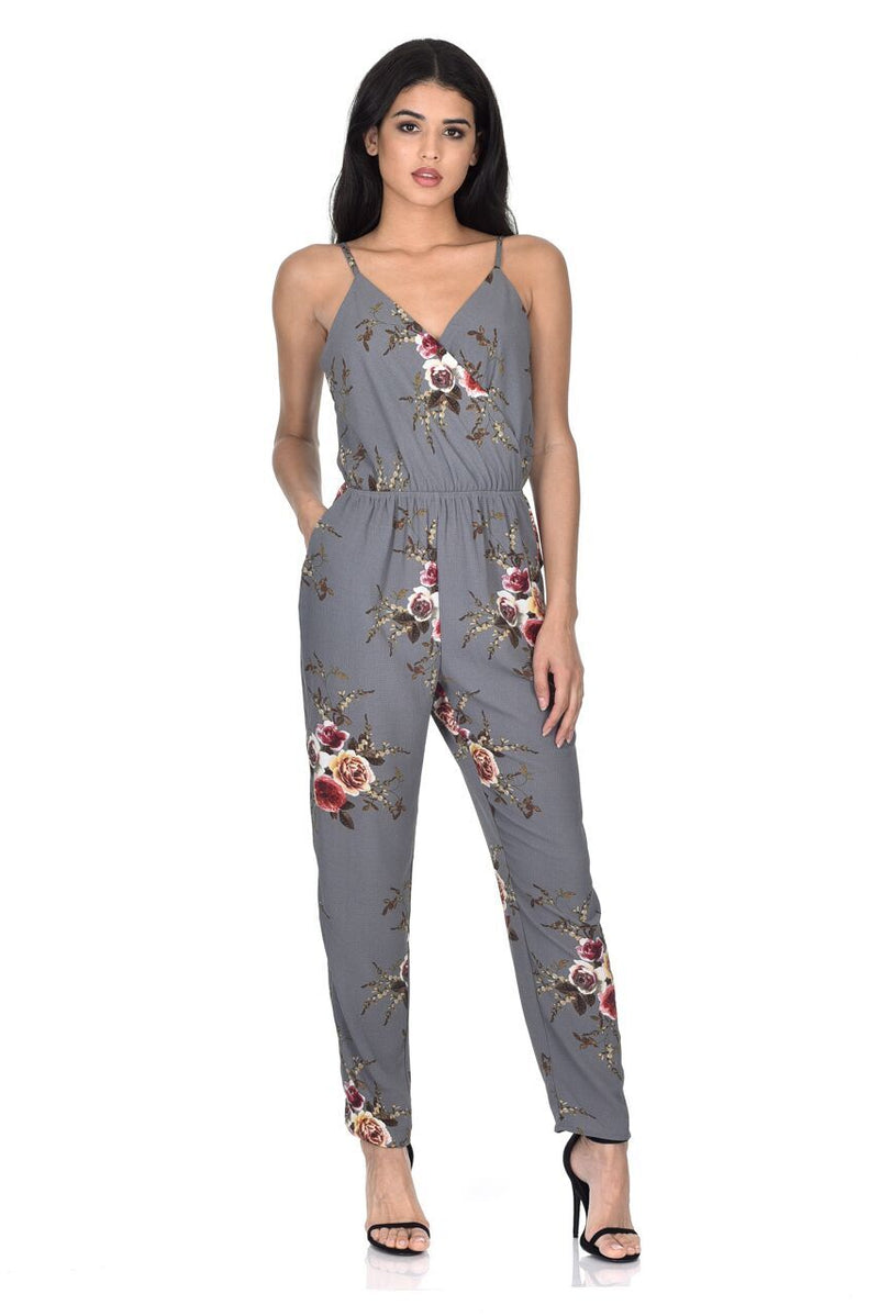 Grey Floral Printed Jumpsuit