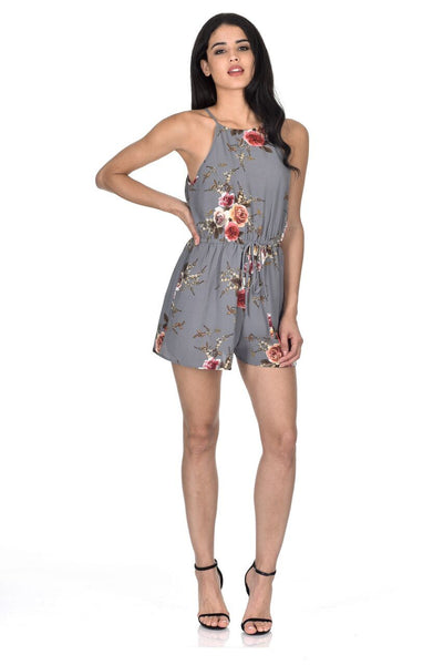Grey Floral Printed Playsuit