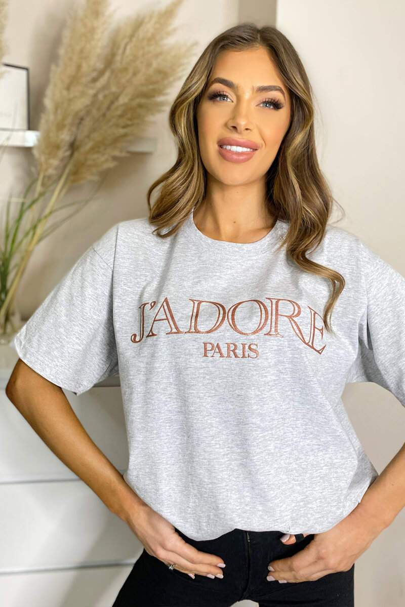 Grey Jadore Oversized Tee