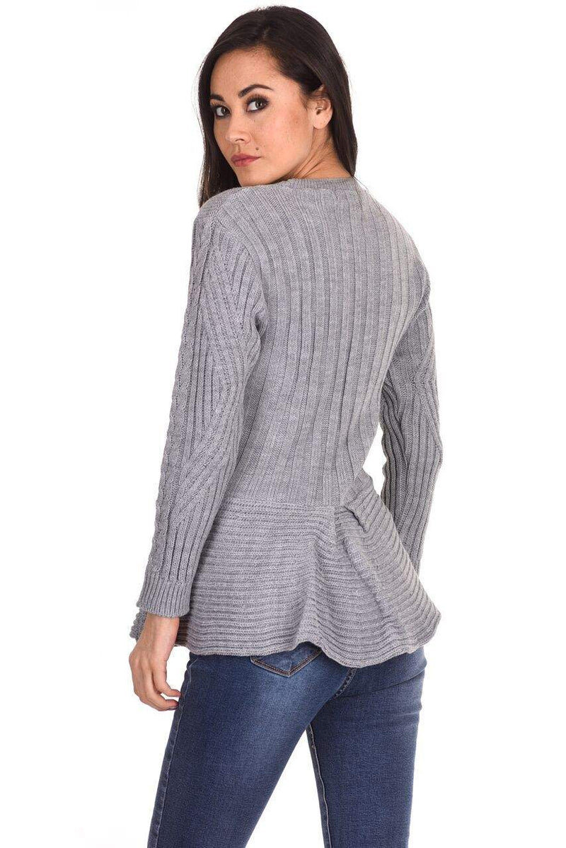 Grey Peplum Knitted Jumper