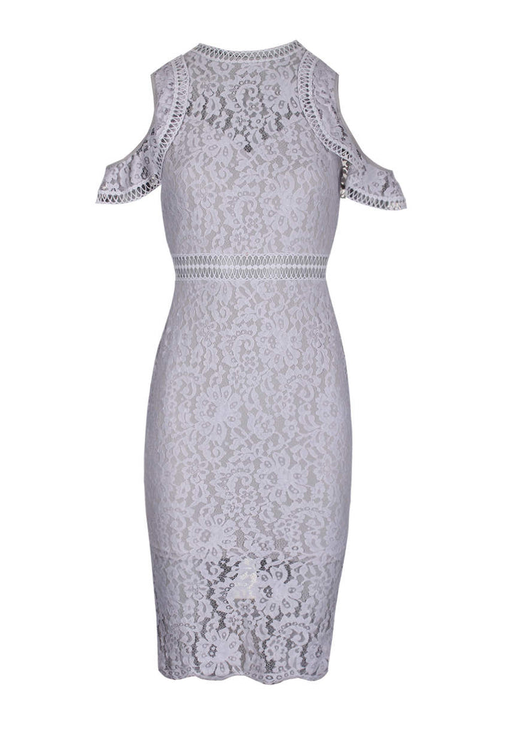 Grey Lace Cold Shoulder Midi Dress