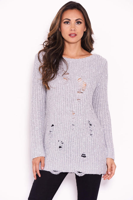 Silver Roll Neck Knit Jumper Dress