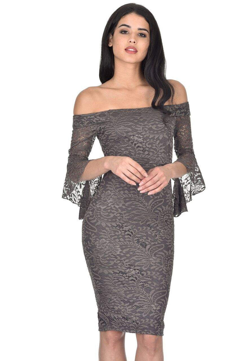 Pewter Off The Shoulder Bell Sleeve Dress