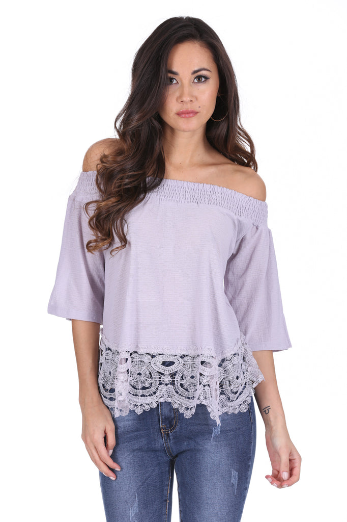 Grey Off The Shoulder Crochet Top