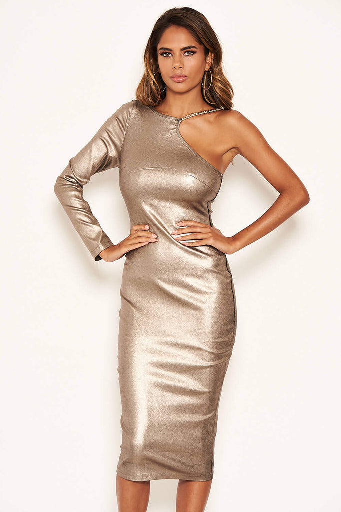Champagne One Shoulder Midi Dress With Chain Detail