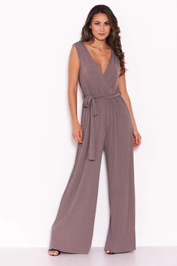 Grey Pleated Tie-Waist Jumpsuit
