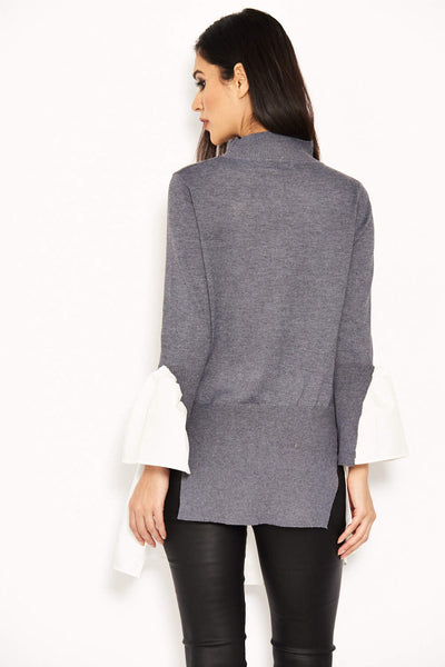 Grey Polo Neck Shirt Jumper Tunic