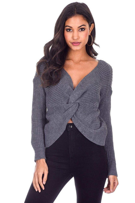 Black V Neck Cable Knit Laddered Jumper
