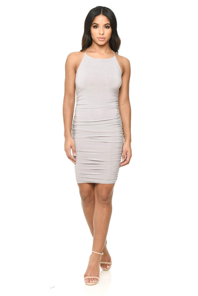 Grey Ruched Detail Halterneck Dress