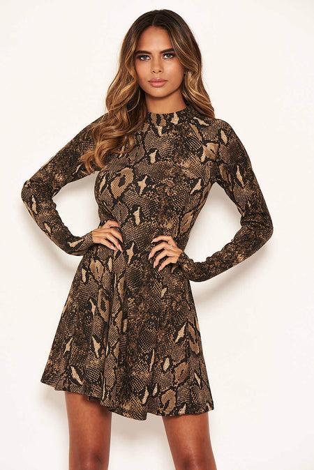 Red Snake Print Shirt Dress