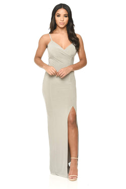 Grey Strappy Floor Length Side Split Dress