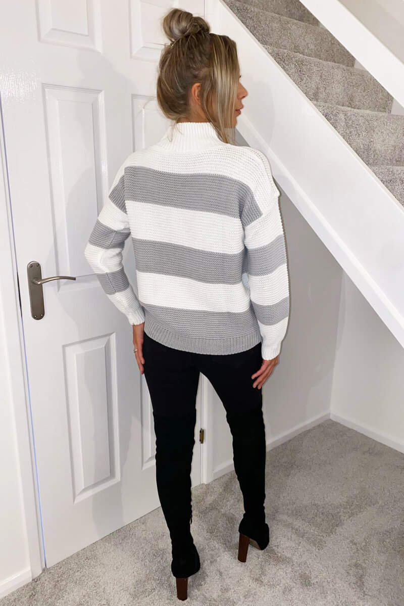 Grey Striped High Neck Knit Jumper