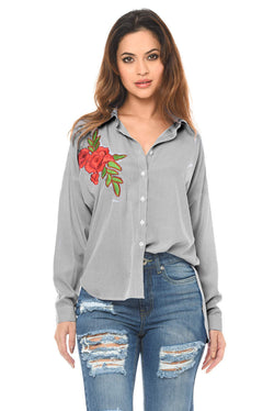 Grey Stripey Rose Embroidered Shirt