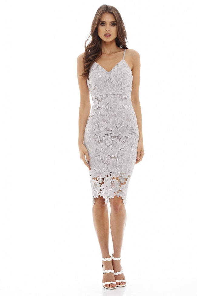 Grey V Neck Lace Midi Dress