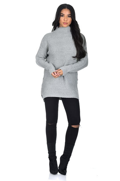 Grey High Neck Side Split Jumper
