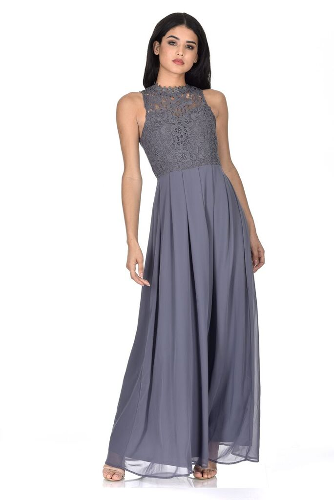 Grey High Neck Crochet Maxi Dress