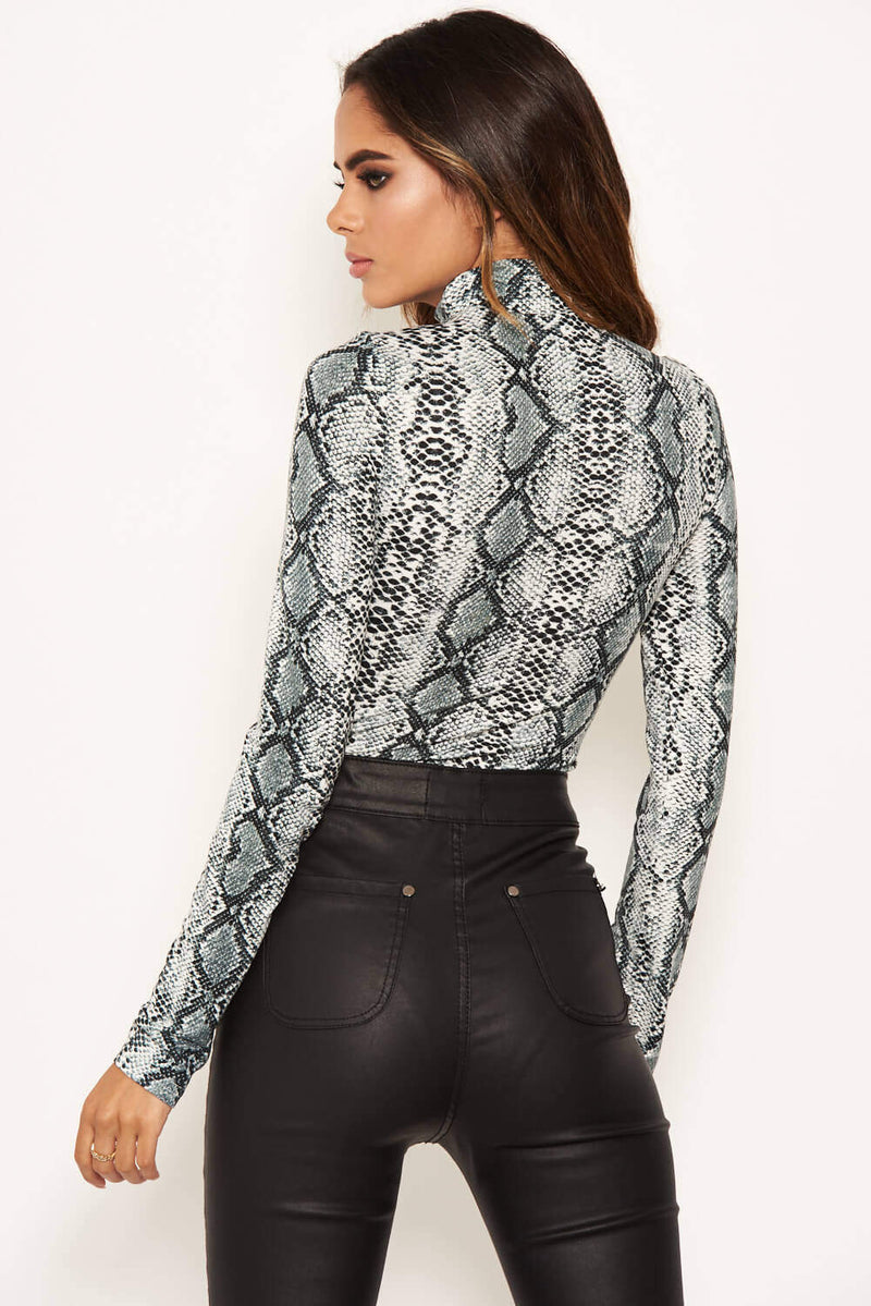 Grey Snake Print High Neck Bodysuit