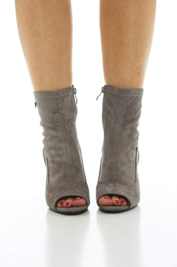 Grey Boot with Cut-Out Heels