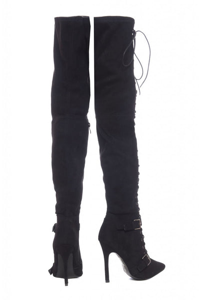 Lace Up Buckled Knee High Boots