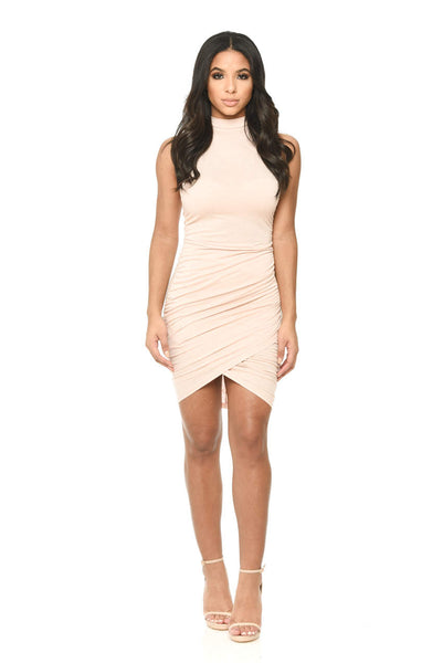 High Neck Champagne Dress With Ruffled Seams