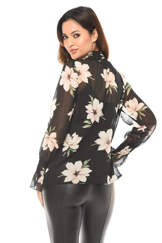 High Neck Floral Chiffon Top