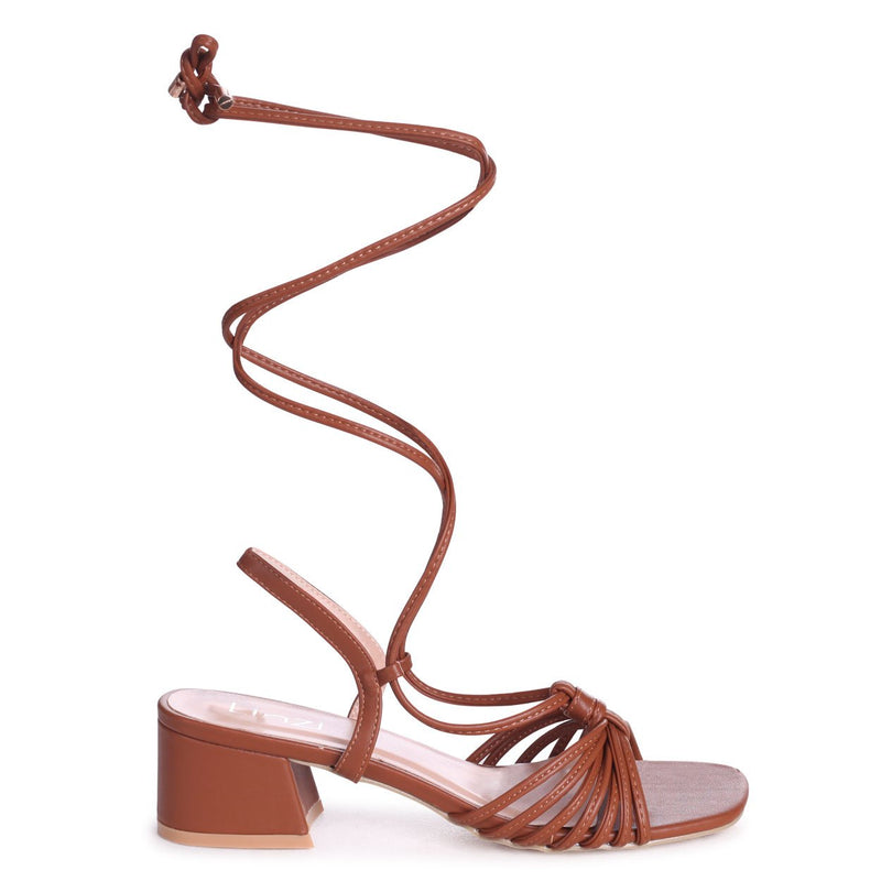 CROSS MY HEART - Tan Nappa Lace Up Block Heeled Sandal With Multiple Front Straps