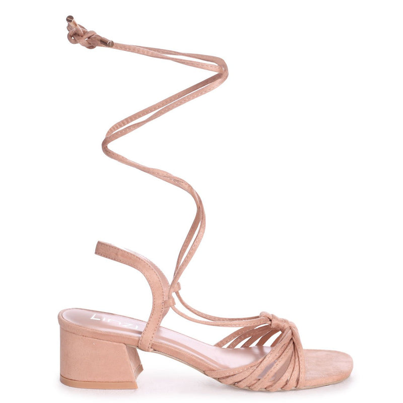 CROSS MY HEART - Nude Suede Lace Up Block Heeled Sandal With Multiple Front Straps